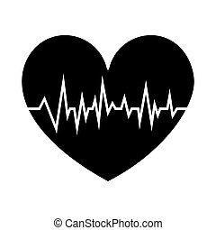 black silhouette shape heart with signs of life vector...
