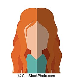 half body woman caucasian in gradient with red hair