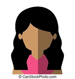 half body woman latin in gradient with wavy hair