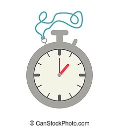Silver Stopwatch Graphic with blue cord vector illustration
