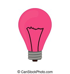 silhouette with fushia bulb light on vector illustration
