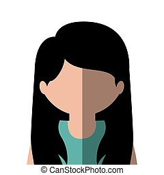 half body woman caucasian in gradient with straight hair