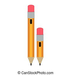 big and small design pencil with eraser vector illustration