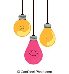 colorful hanging bulbs with emotion face vector illustration