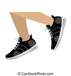 legs with black Fitness sneakers design icon vector...