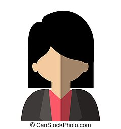 half body woman asian in gradient with straight hair