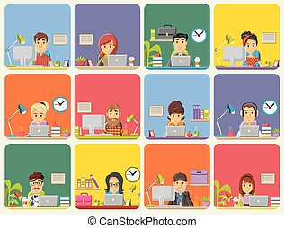 Office workspace with desks. - Template with cartoon...