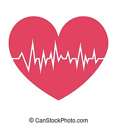 fushia heart with signs of life vector illustration