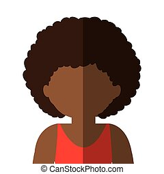 half body woman brunette in gradient with curly hair