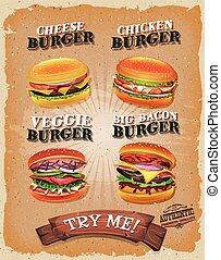 Grunge And Vintage Burger Menu - Illustration of a design...