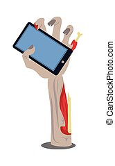 Phone in Broken Zombie Hand Vector Illustration - Broken...