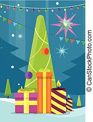 Christmas Tree with Presents and Candles. Vector