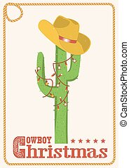 Cowboy christmas  card with cactus and western hat.