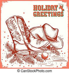 merry christmas and New Year card with cowboy boot and...