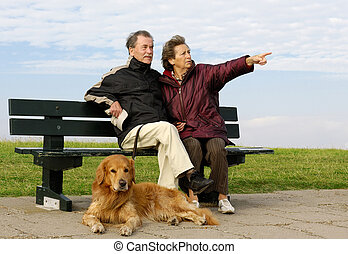 Senior couple on a bench - A senior couple with its dog on a...