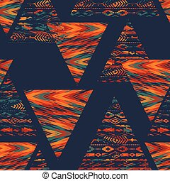 Tribal ethnic seamless pattern with geometric elements....