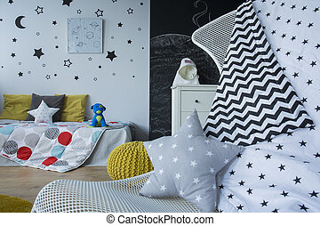 Decorated outer space bedroom - Cozy outer space bedroom...