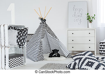 Kid bedroom with play tent, dresser and diy crate storage