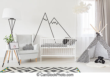 Functional baby room - Light functional baby room with cot,...
