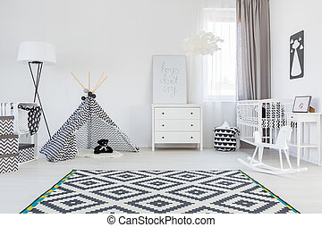 Baby boy room with tent - Black and white baby boy room with...