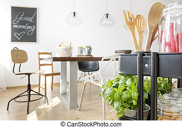 Interior with wooden table - Home interior with wooden...