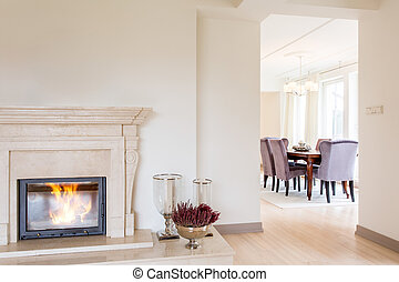 Room with marble fireplace