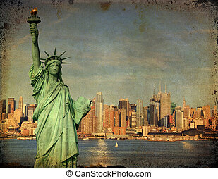new york city tourism concept with statue liberty - grunge...