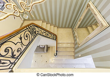 Stairs with decorative railing - View from the top of the...
