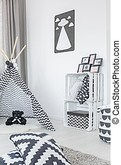 Modern child room with tent, crate storage and pattern...