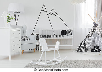 Child bedroom with wall decal - Child bedroom with...