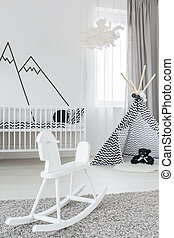 Room with rocking horse - Baby girl room with white rocking...