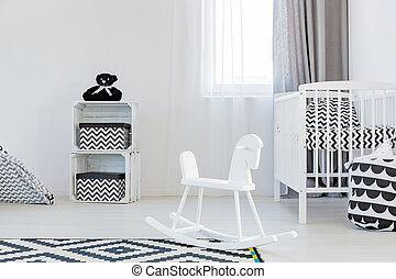 Child room with rocking horse - Light child room wite...