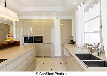 Kitchen with bright furnitures and sink - Fully equipped...