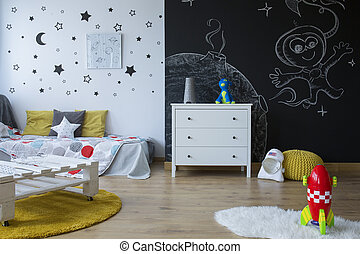 Cozy space-themed room - Cozy space-themed children's room...