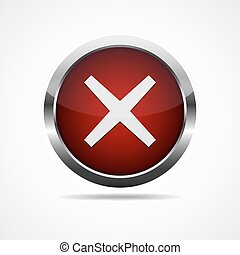 Red cross mark button. Vector illustration.