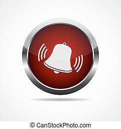 Red button with ringing bell. Vector illustration. - Alarm...