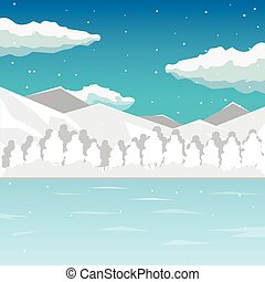 Winter. Sea and mountain landscape, neverending vector...