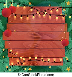 Merry Christmas and Happy New Year. Vintage Christmas Background, Wooden frame, Vector illustration.