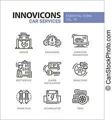 Car Services modern thin line design icons and pictograms -...