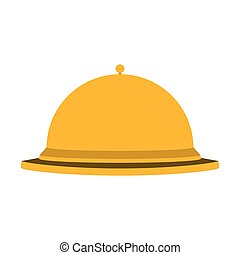 silhouette golden with cloche food vector illustration