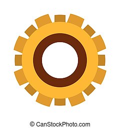 yellow silhouette gear wheel icon vector illustration