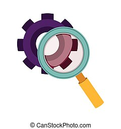 purple silhouette gear wheel and magnifying glass vector...