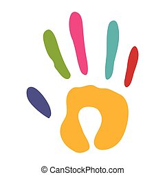 handprint silhouette colorful icon flat