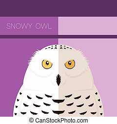 Snowy Owl flat postcard - Vector image of the Snowy Owl flat...
