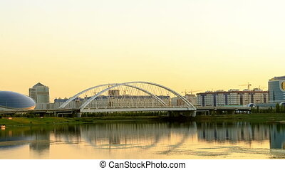 Sunset over the river. Zoom. Astana, Kazakhstan. UltraHD...