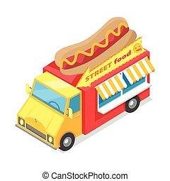 Street Fast Food Isometric Vector Illustration - Street...