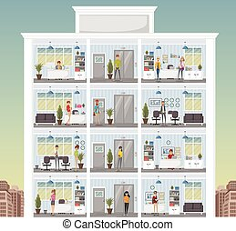 Building with cartoon business people working in office workspace.