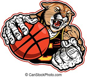 cougar basketball - muscular cougar basketball mascot player...