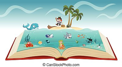 Open book with cartoon pirate boy