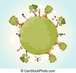 Planet earth with cartoon teenagers . Nature background.